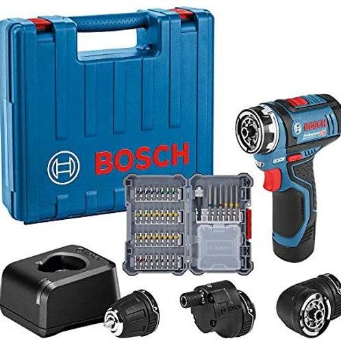 Bosch skruvdragare med vinkeltillsatser. GSR 12V-35 FC 2X3ah