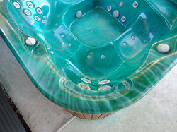 Repaired top of burnt spa bath