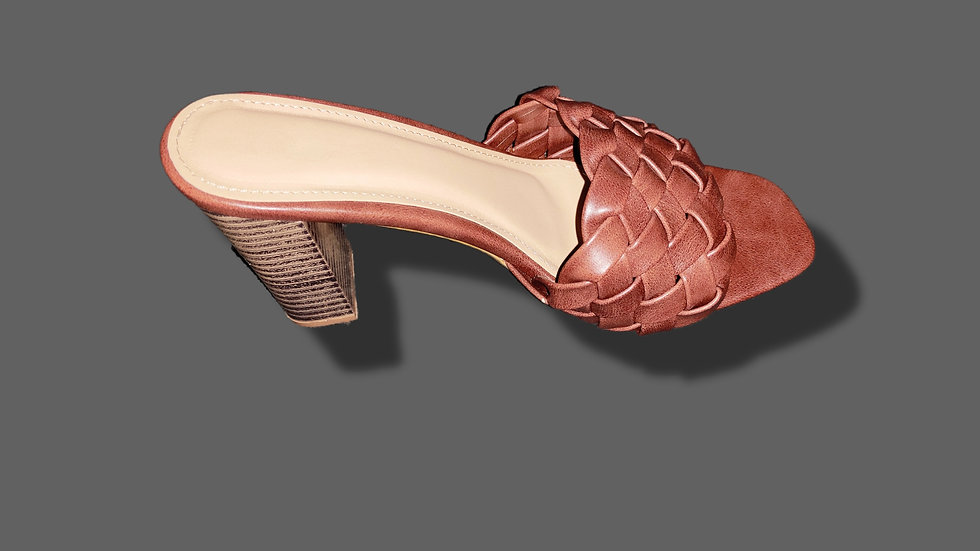 Chocolate Braided Heeled Mules By The Melo Footwear