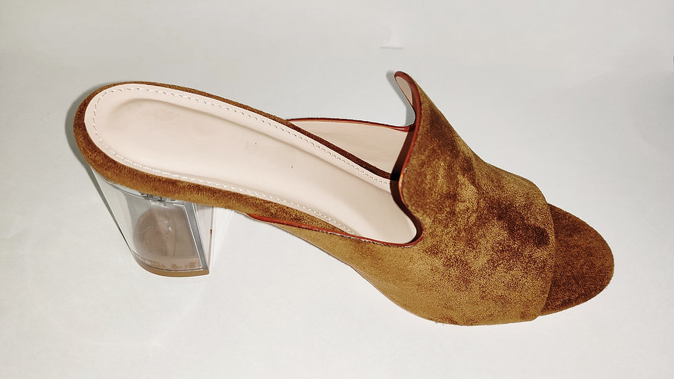 Brown Velvet with Transparent Heels by The Melo Footwear