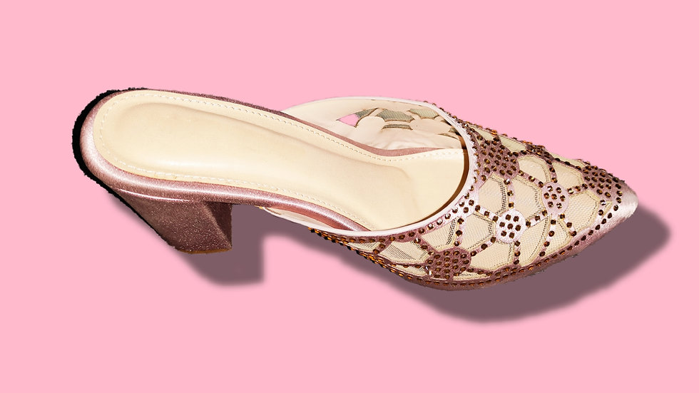 Rose Gold Ethnic Narrow Heeled Mules By The Melo Footwear