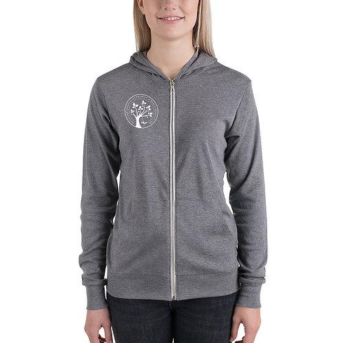 Unisex zip hoodie - White Printed Logo