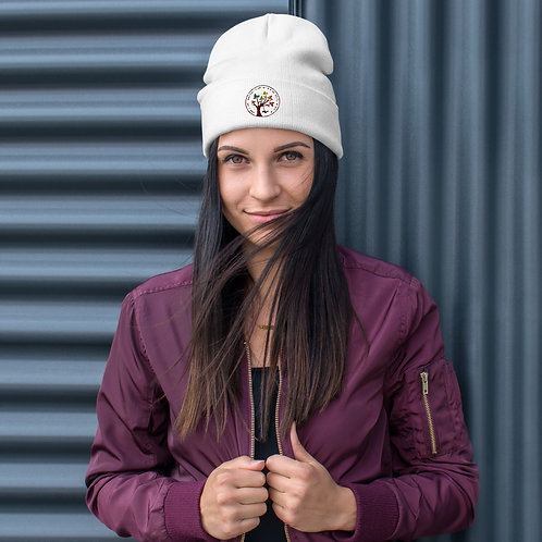 White Embroidered Beanie - Color Logo