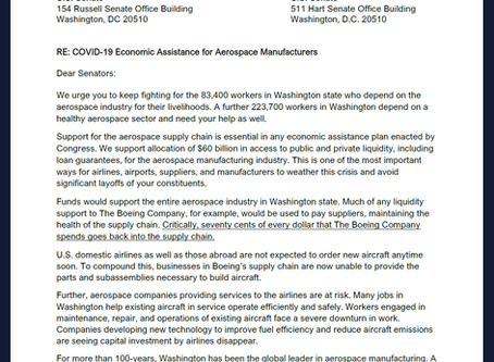 AFA Urges Congress to support aero industry in covid-19 economic assistance package