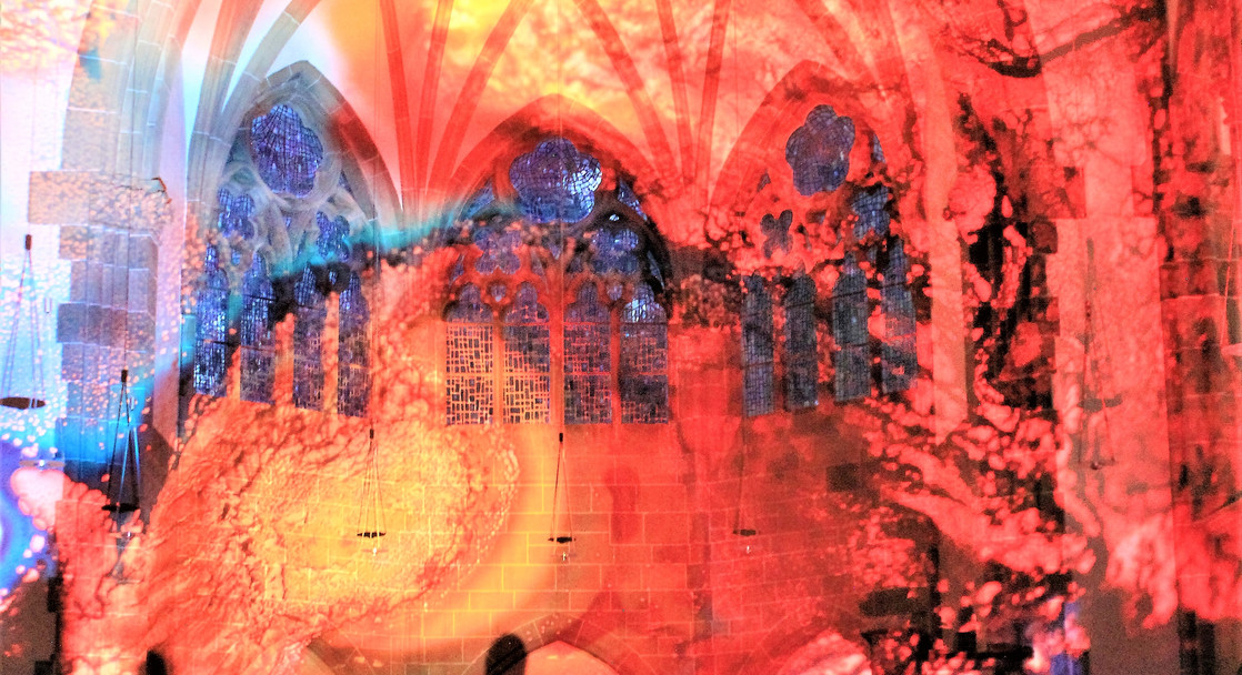 Christuskirche 'Inferno' projection in Germany