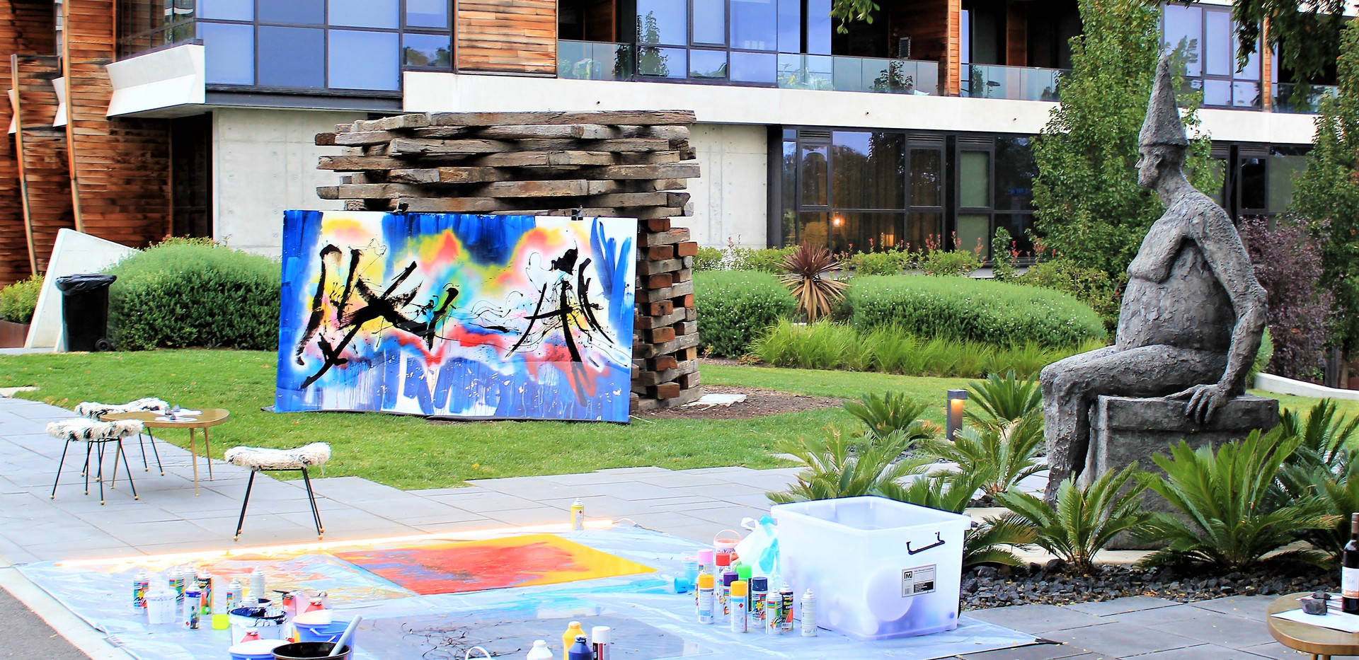 Sabres and live painting in the Nishi Gallery courtyard