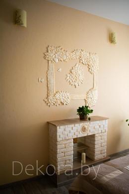 """Барельеф """"Весенний букет"""", декоративная штукатурка и камин под ключ"""