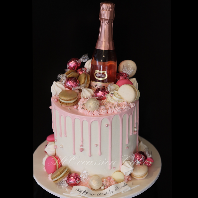Pink Champagne drip cake