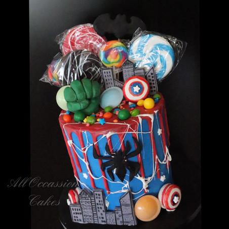 Superheroes drip cake