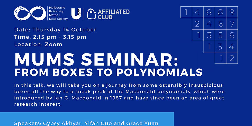 MUMS Seminar: From Boxes to Polynomials