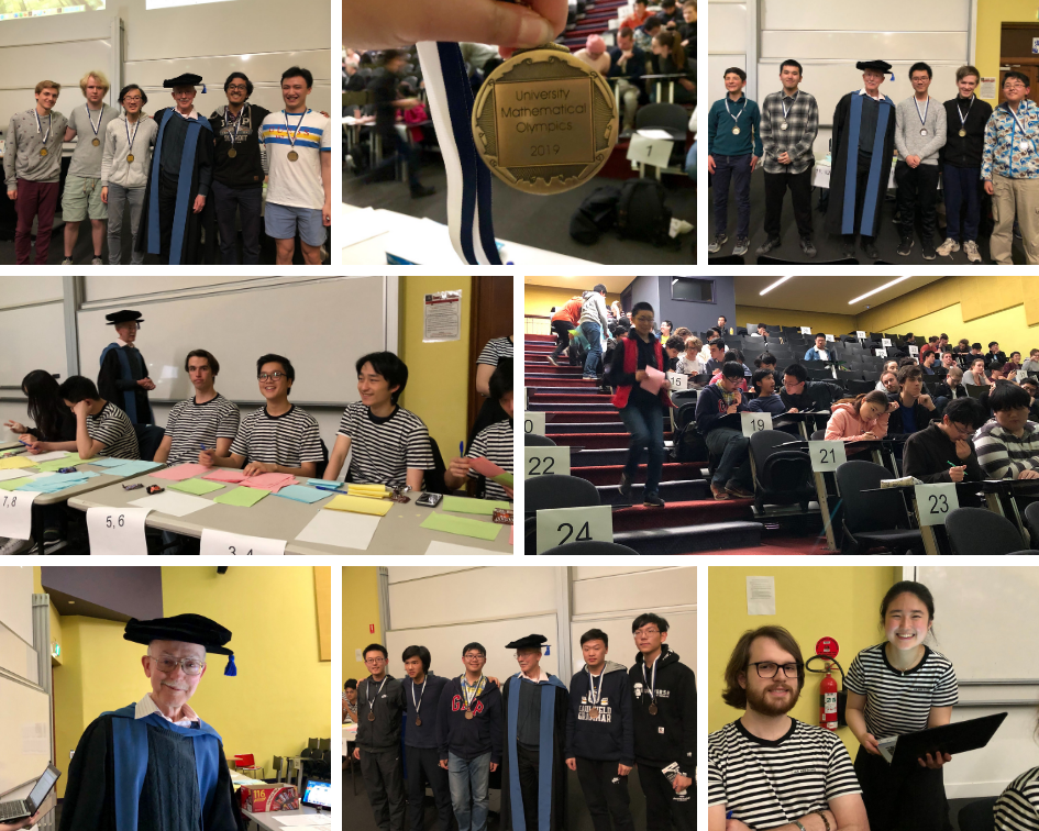 photo collage of winning teams, a gold UMO medal, markers in stripy MUMS t-shirts, and Professor Barry in academic gown.