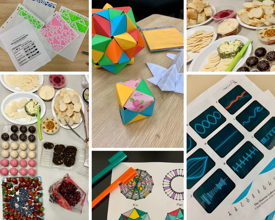 photo collage of cellular automaton colouring in, modular origami, puzzles, and spread of tasty snacks!