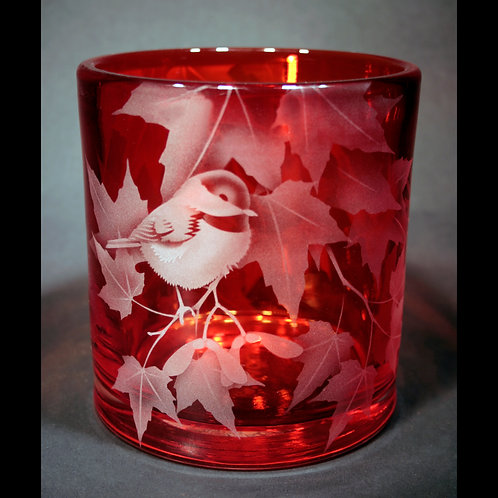 Chickadee Red Maple Branch Etched on Red Cylinder Vase  Code: B130 RD GSCD