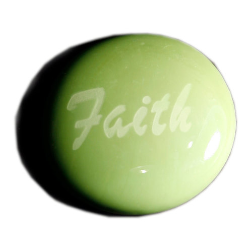 Faith Etched on a Iridescent Green JagGem Code: W205 IG RFGA