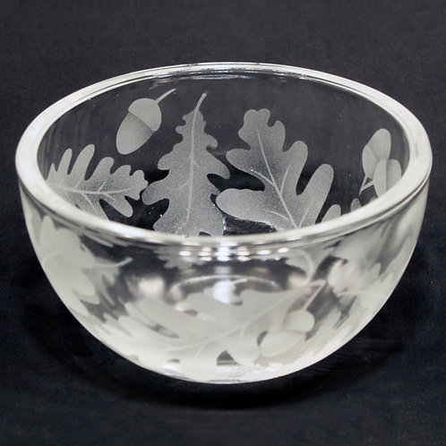 Oak Leaves Etched on Clear Petite Bowl  Code: F560 CL PSBB