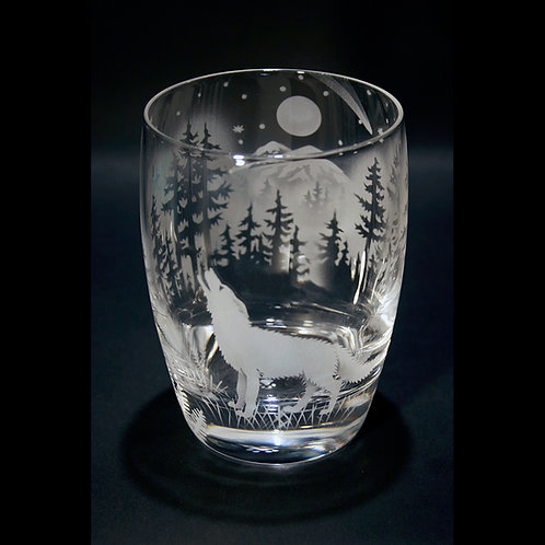 Wolf Howling at a Full Moon Etched on a Whiskey/Tumbler