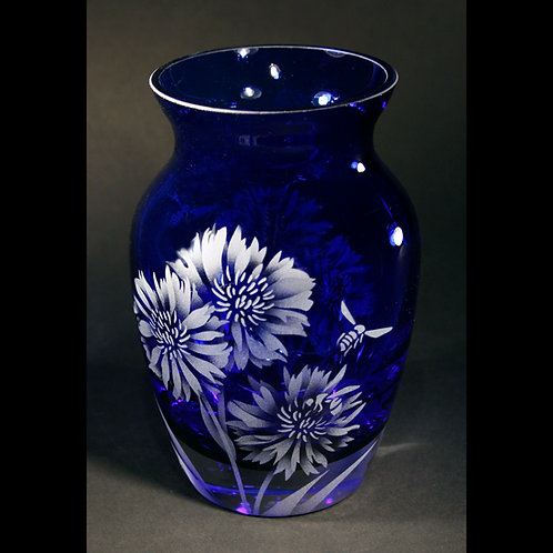 Bees Bachelor Button Flowers Etched on Blue Florist Vase  Code: I006 CB GFVD