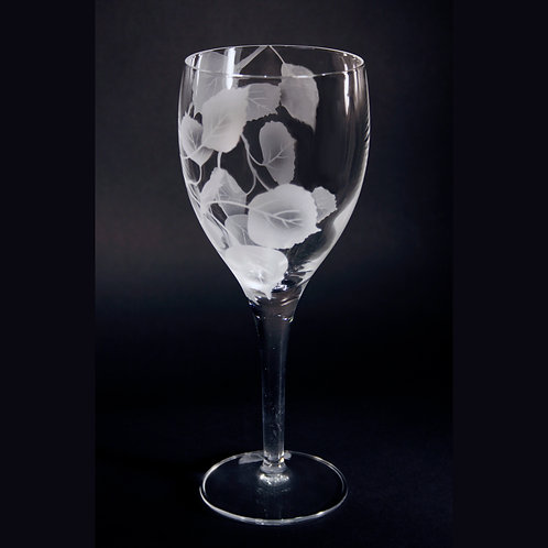 Aspen Branch Etched on White Wine Crystal Goblet  Code:F037 CL LWGE