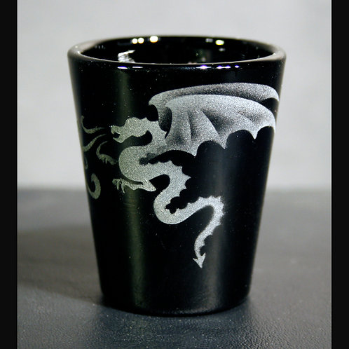 Dragons Fire Etched on Black Shot Glass  Code; M134 BK LSGB