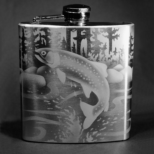 Leaping Trout Etched on 6oz Stainless Steel Flask  Code:  O630 SS 06FC