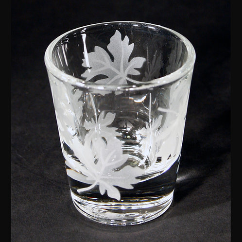 Maple Leaves Etched on Clear Shot Glass  Code: F485 CL LSGB