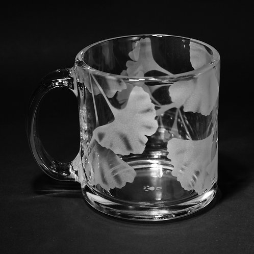 Ginkgo Branches Etched on Clear Mug  Code: F248 CL LCMC