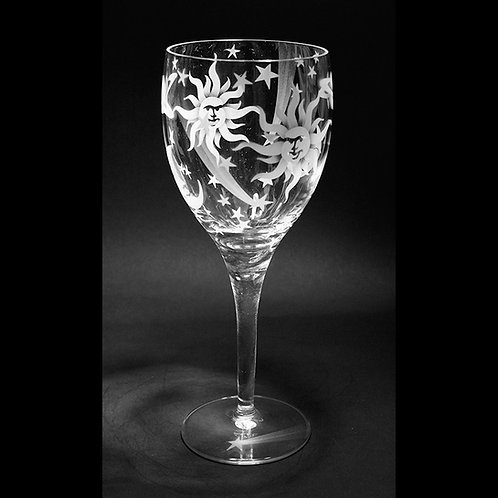 Celestial Design Permanently Etched on a White Wine Crystal Goblet