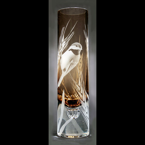 Chickadee Wheat Etched Topaz Bud Vase  Code:B132 TP OBVE