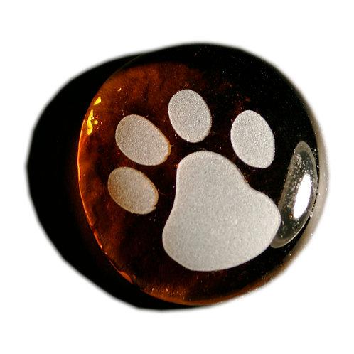Cat Paw Print Etched on a Topaz JagGem Code: G018 TP RFGA
