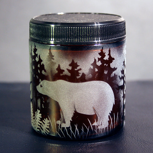 Bear in Forest Mountain Scene Etched on Topaz Medium Jar  Code: A054 TP SJMB