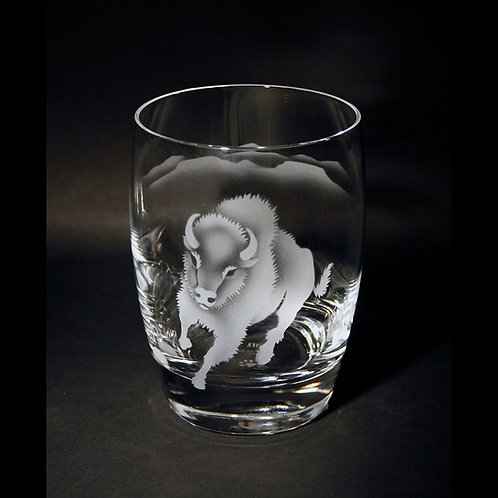 Bison Etched on a Crystal Whiskey/ Tumbler Glass