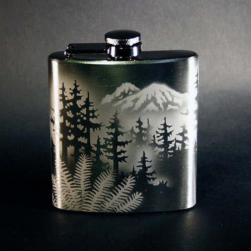 Mountain Forest 6oz Stainless Steel Flask  Code;  S225 SS 06FC
