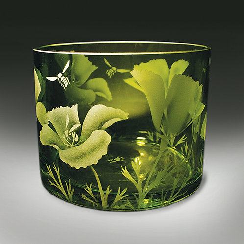 Bees California Poppies Etched on Green Cylinder Vase  Code: I016 GR GSCC
