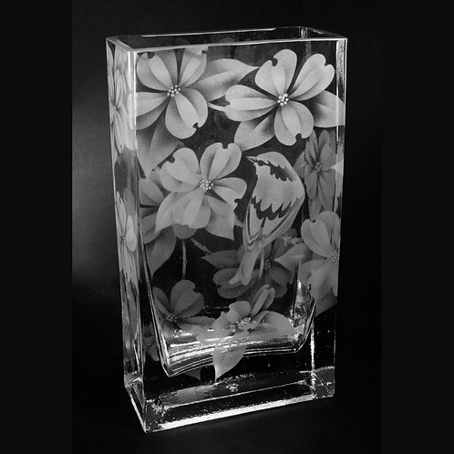 Finch Dogwood Flowers Etched on Clear Rectangle Vase  Code: B208 CL GEVE