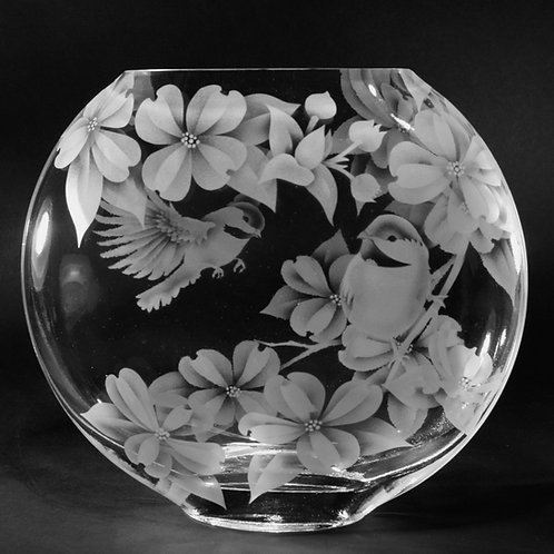 Chickadees Dogwood Flowers Etched on Clear Sphere Vase  Code: B123 CL GSVC