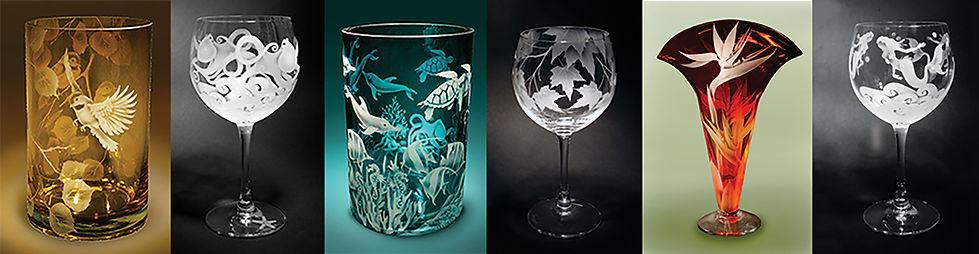 etched glass, Jaguar Art Glass, Eugene Oregon