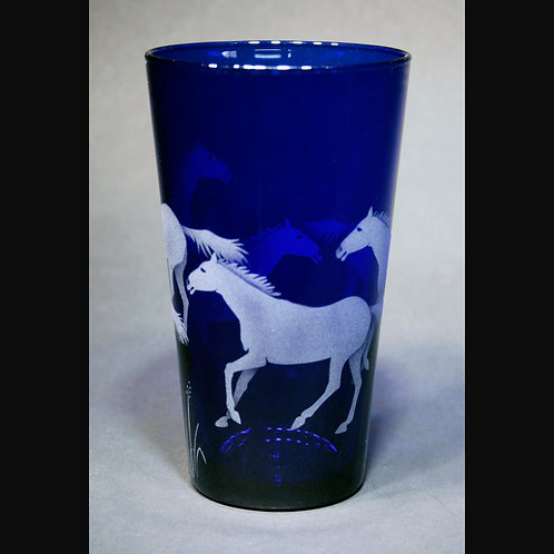 Running Horses Etched on Blue Cooler Glass  Code: A290 CB LCGD