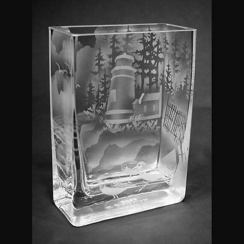Haceta Head Lighthouse Etched on Clear Rectangle Vase  Code: S445 CL GEVD