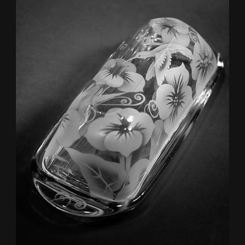 Hummingbird Morning Glories Etched on a Clear Butter Dish  Code; B395 CL BTTD