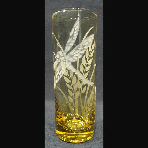 Dragonfly Grass Etched on a Topaz Spirit Glass   Code:  I175 TP IBVC
