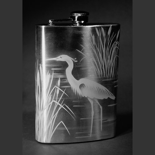 Heron Cattails Etched on 12oz Stainless Steel Flask  Code: B285 SS 12FE