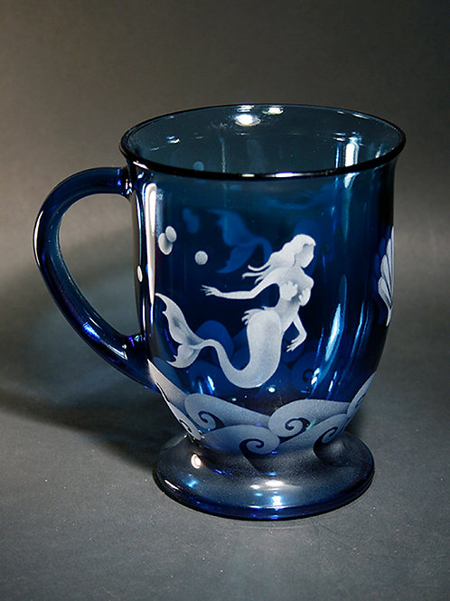 Mermaids Shell Waves Etched on an Azure Cafe Mug  Code; O505 AZ FCMC