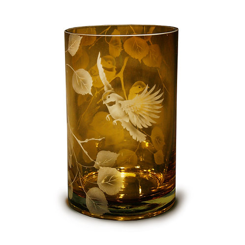Chickadees Aspen Branches Etched on Topaz Cylinder Vase  Code: B121 TP GCVE