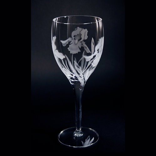 Bearded Iris Etched on a White Wine Goblet