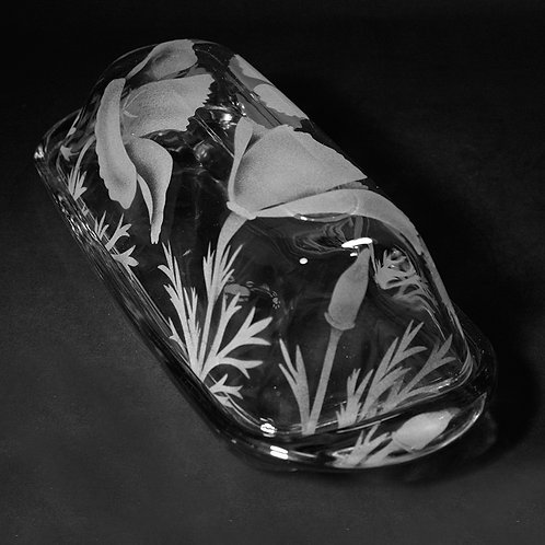 California Poppies Etched on a Clear Butter Dish
