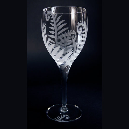 Ferns Etched on White Wine Goblet