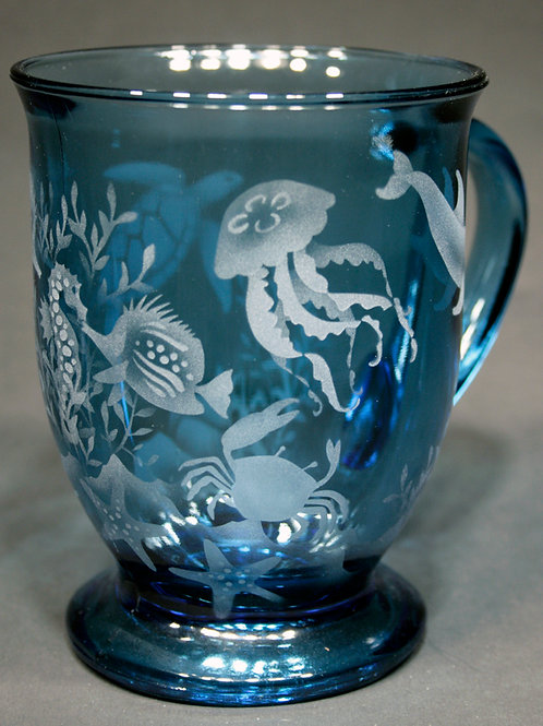 Ocean Animals with Seaweed Etched on Azure Cafe' Mug  Code: O570 AZ FCMC