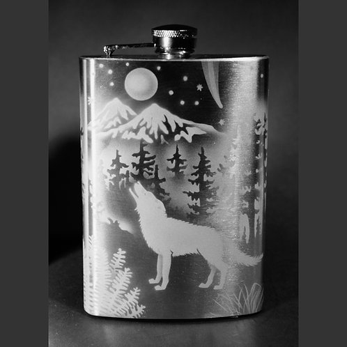 Wolves Moon Phase Etched on Stainless Steel Flask  Code:  A885 SS 08FE