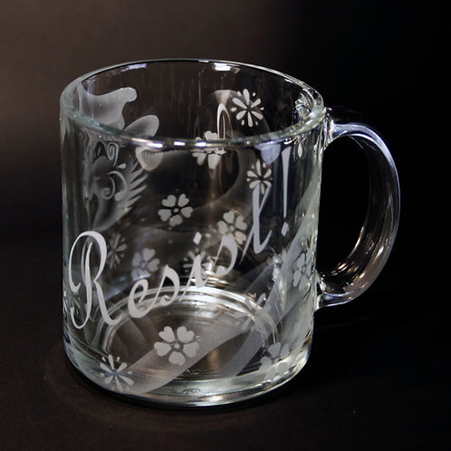 RESIST! with Sugar Cat Floral Etched on Clear Mug  Code: T626 CL LCMC