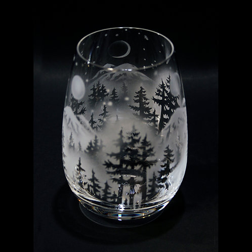 Moon Phases over Mountain Forest Scene Etched on Crystal Stemless Wine Glass